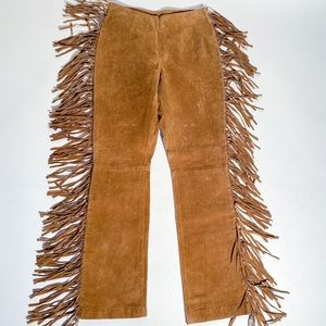 Boho Festival Leather Fringe Flares